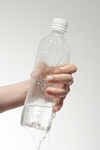 cold water bottle hand