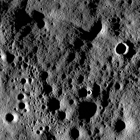 Rugged highland terrain on the farside of the Moon, south of Cantor crater.