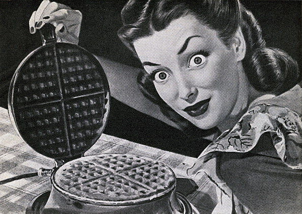 Housewife With Waffle Iron