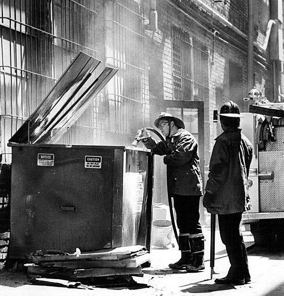 JUN 22 1978, JUN 23 1978; Thursday Afternoon At The Fire; Firemen, above, tackle a fire in a dumpste