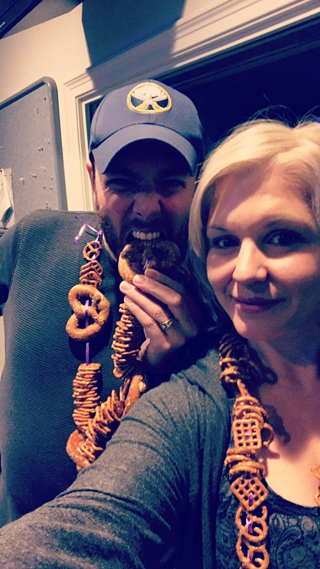Tony and Val with their pretzel necklaces.