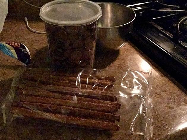 Ingredients: Pretzel sticks, chocolate. Sprinkles optional.